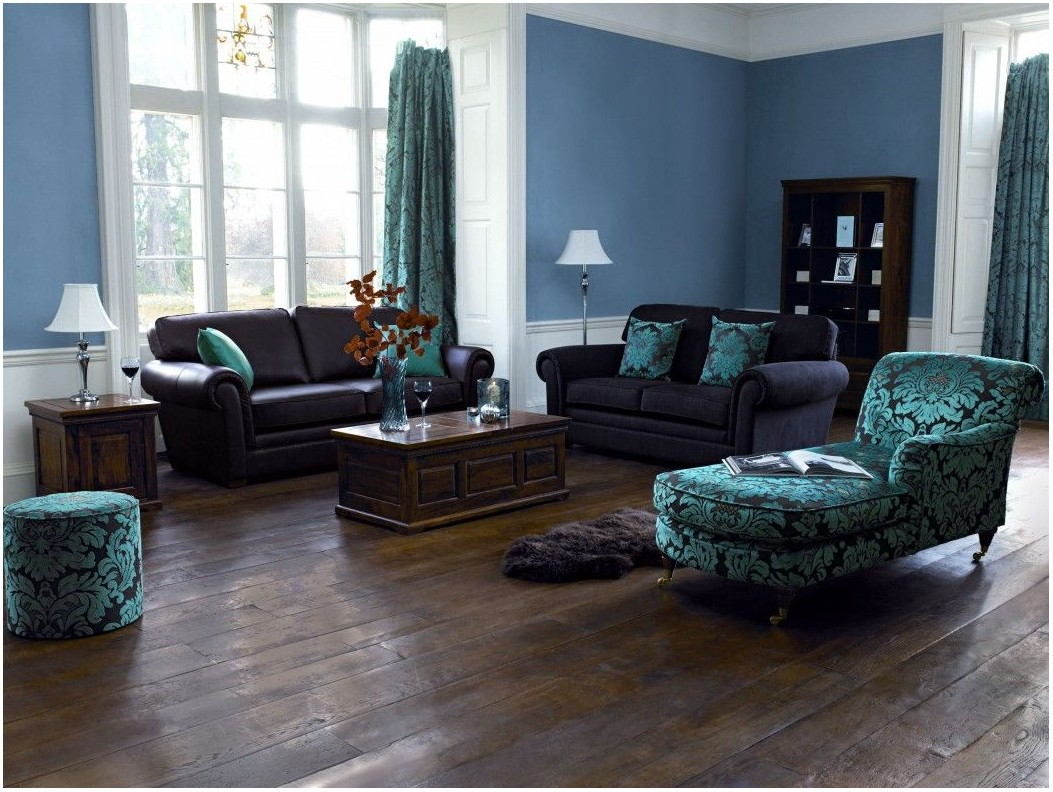 Brown Blue Living Room Paint