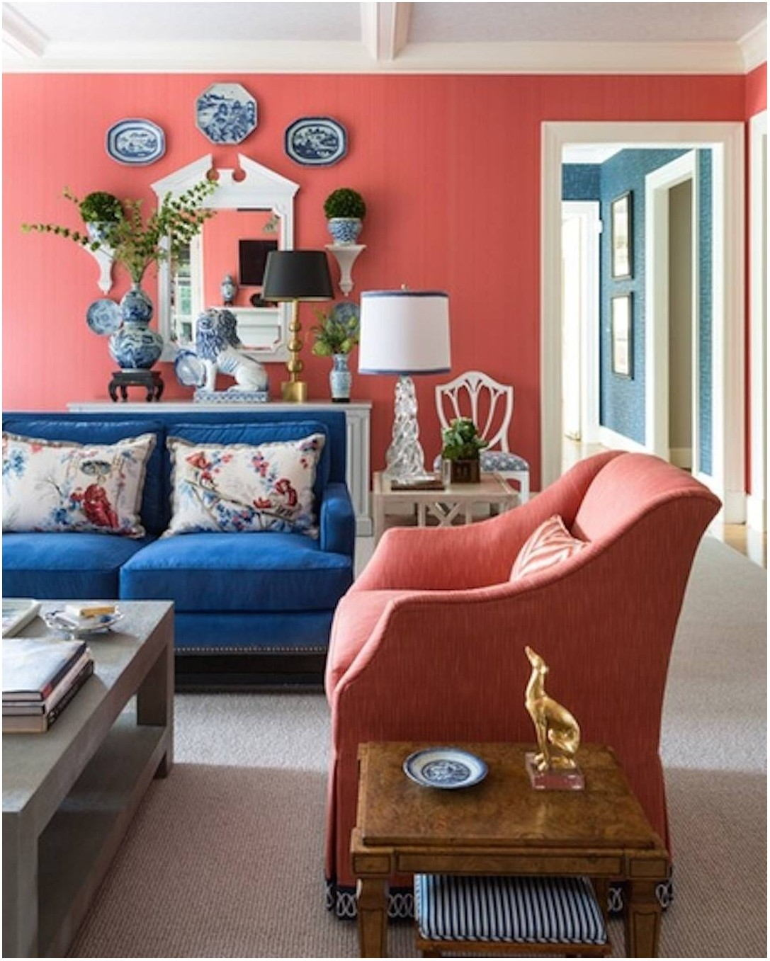 Coral Painted Living Rooms