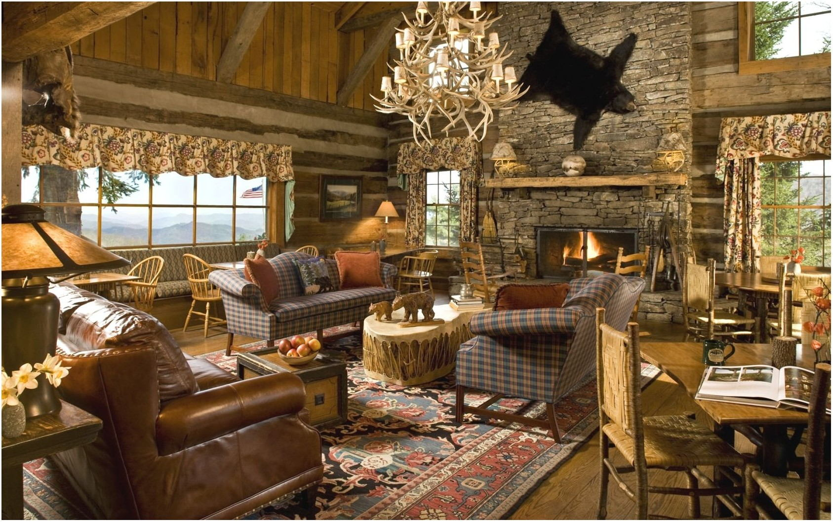 Country Cabin Interior Design Living Room