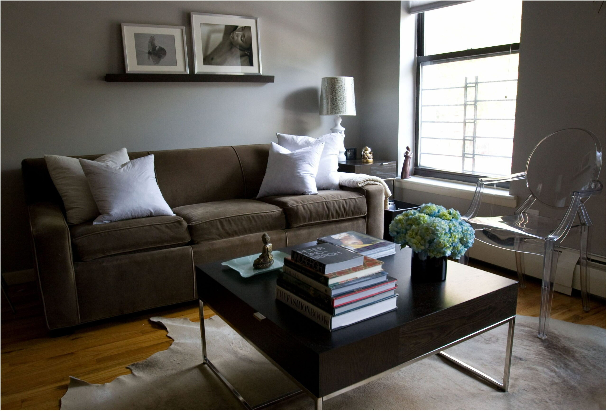 Green Gray Paint Living Room Brown Sofa