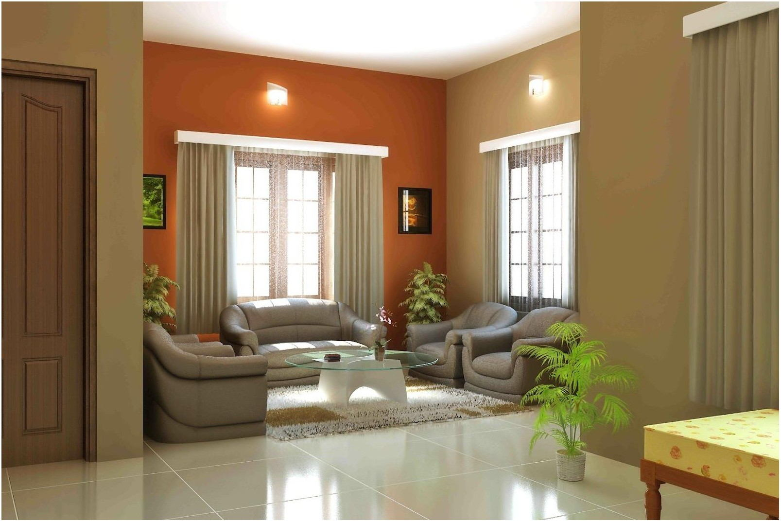 Interior Living Room Simple Color Drawing