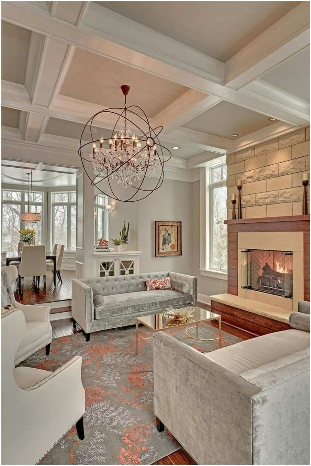 Painted Chandelier In Living Room