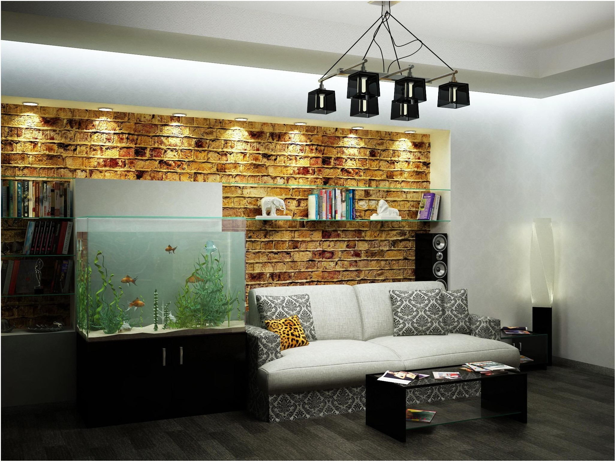 Small Living Room Interiors With Fish Tank
