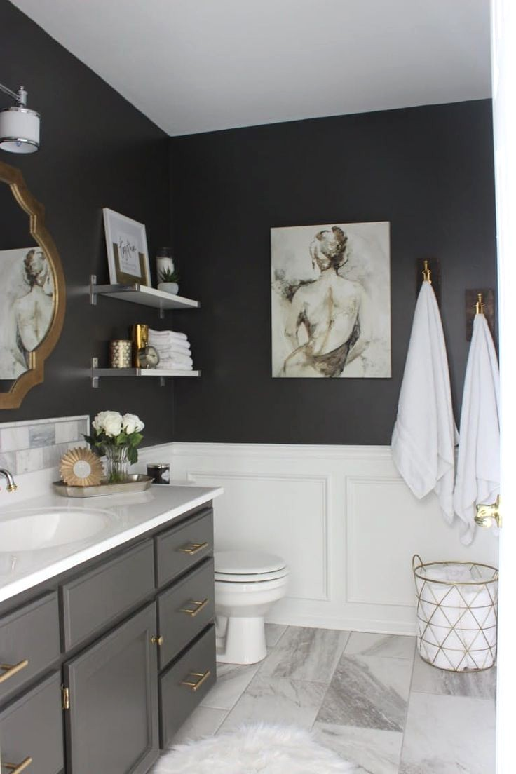 Black And White Bathrooms With Color
