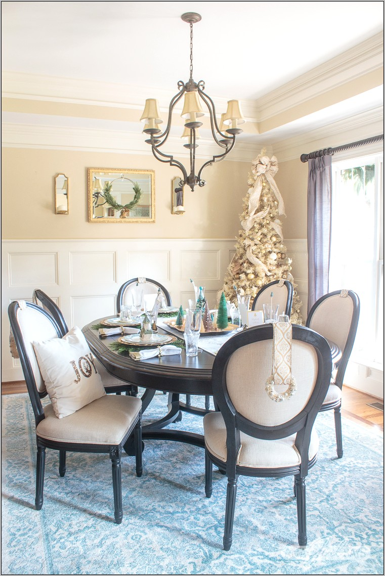 Dining Room Accent Table Decorated For Christmas