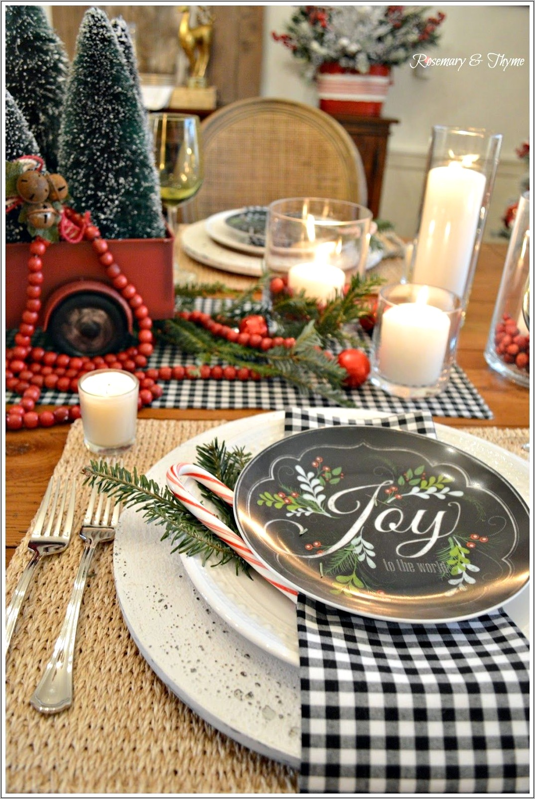 Dining Room Table Decorated For Country Christmas