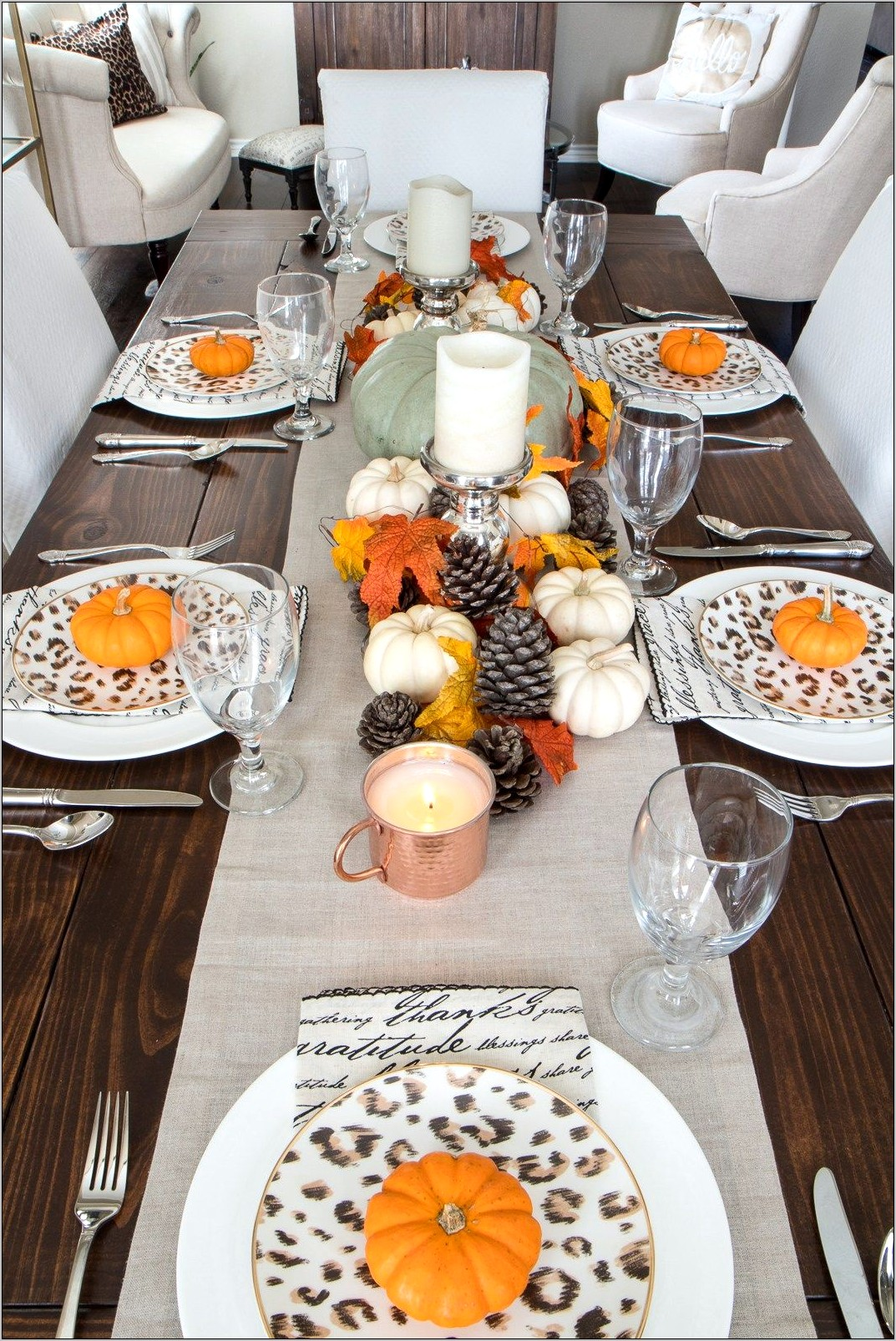 Dining Room Table Thanksgiving Decor