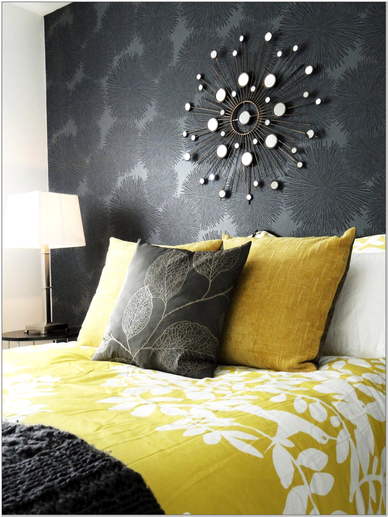 Bedroom Decorating With Gray And Yellow