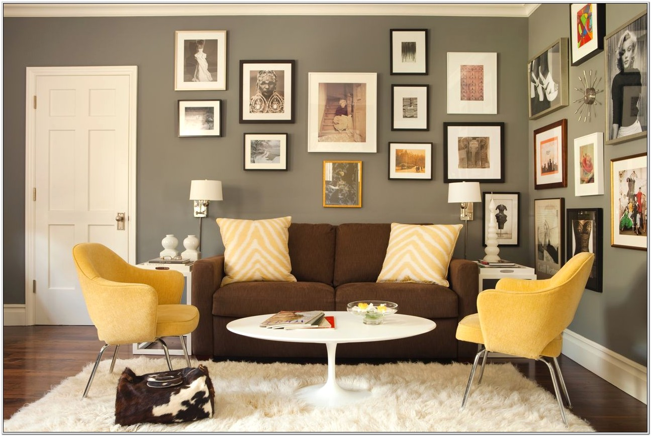 Brown Couch Living Room Ideas Yellow Painting