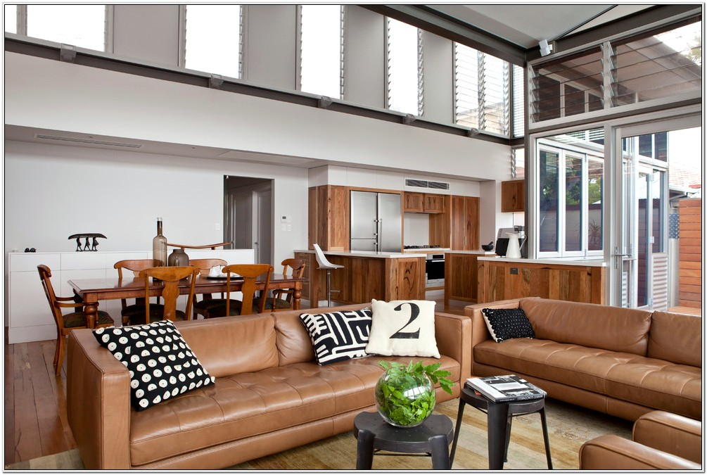 Brown Leather Couch Modern Living Room Design