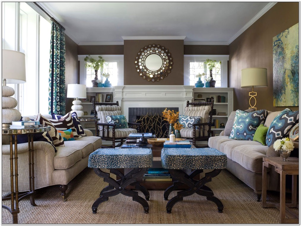 Chocolate Brown And Blue Living Room Designs