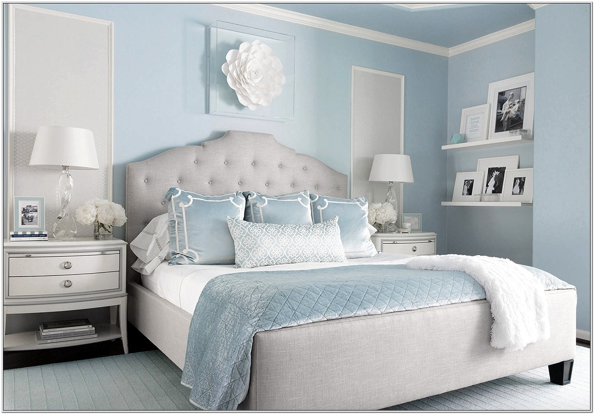 Grey Bedroom With Blue Decor