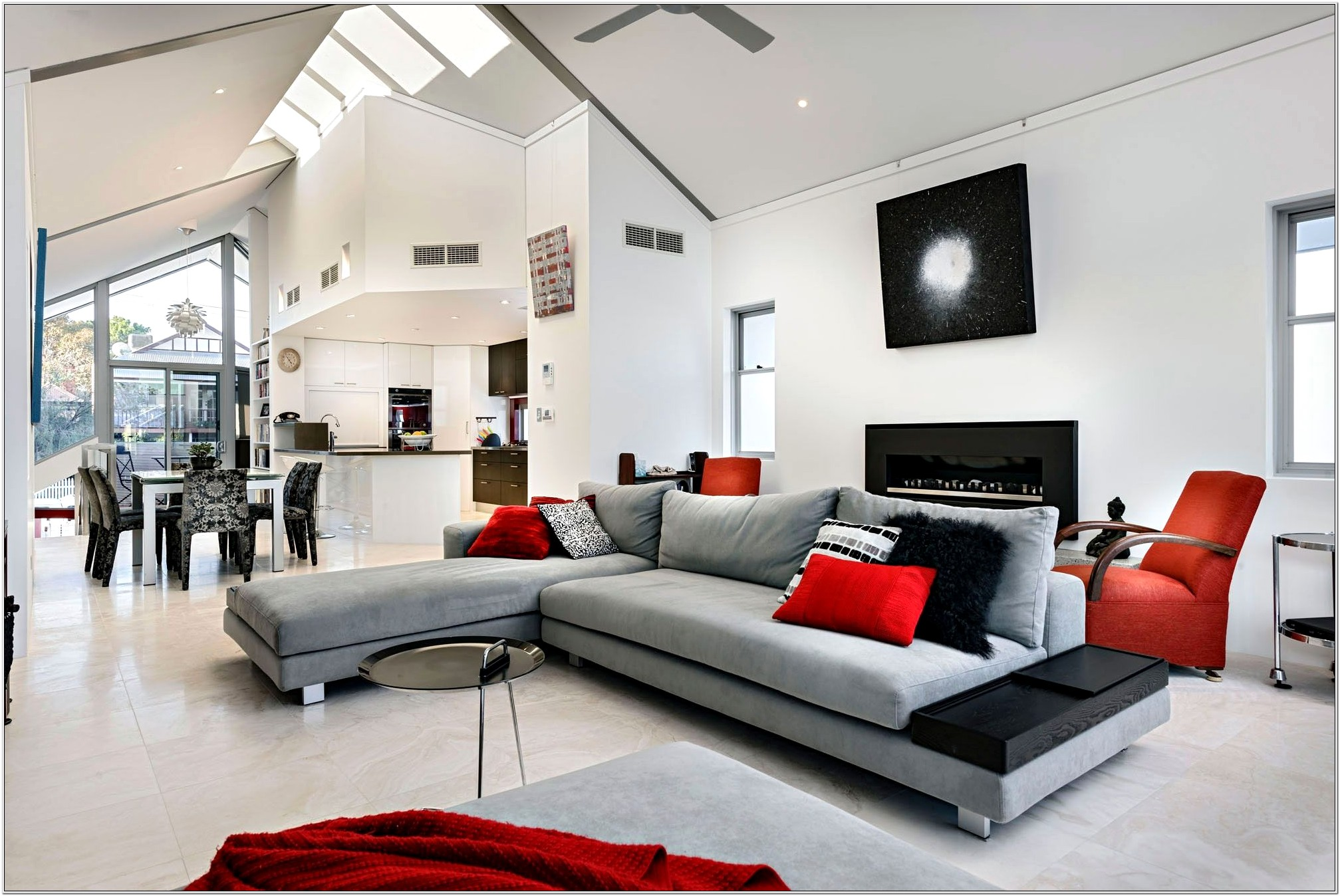 Grey White And Red Living Room Ideas