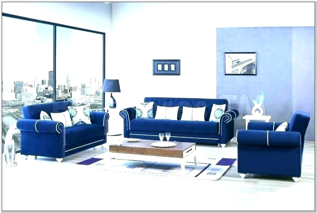 Living Room Decorating Blue Console