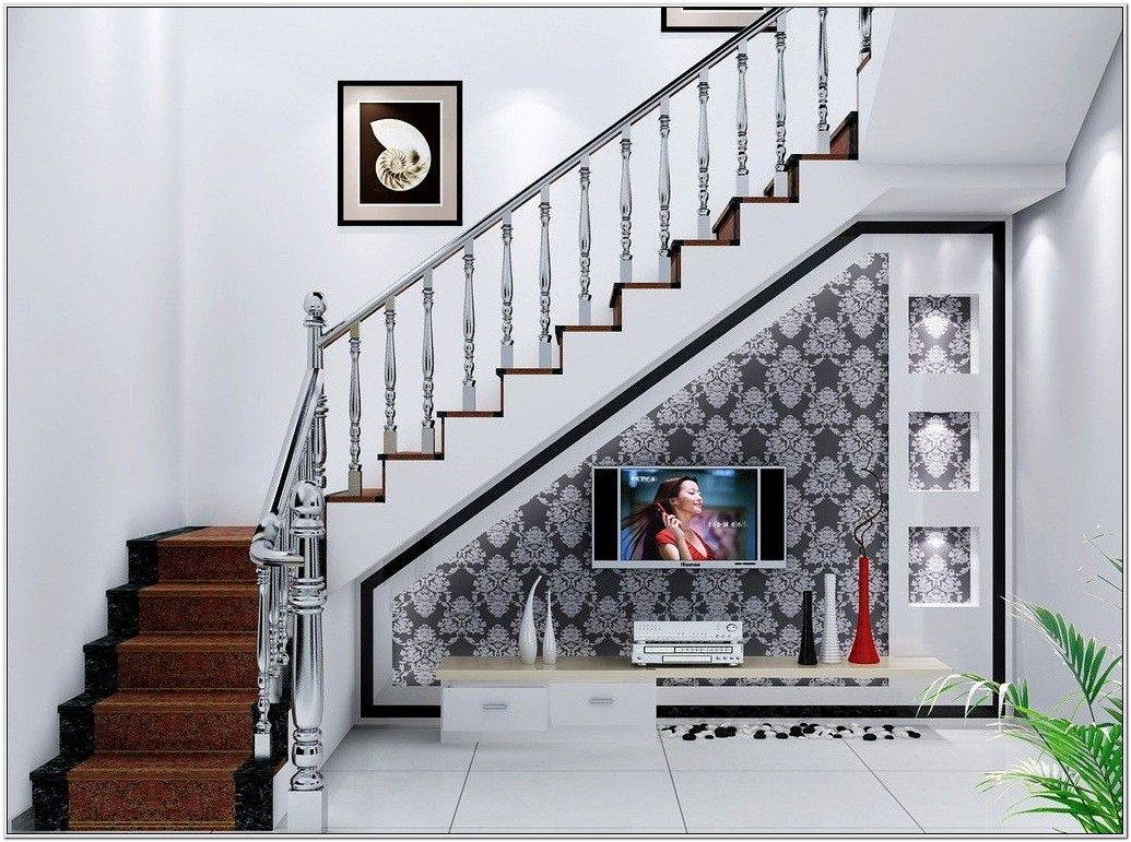 Living Room Design Under Stairs