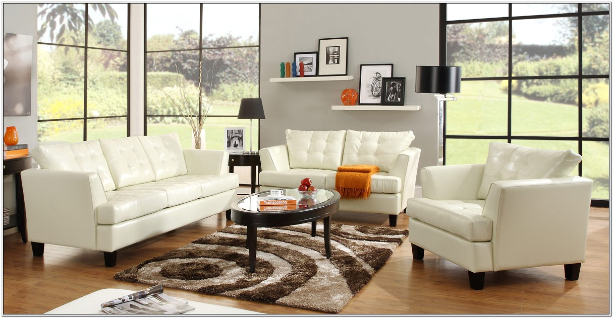 Living Room Design White Leather Couch
