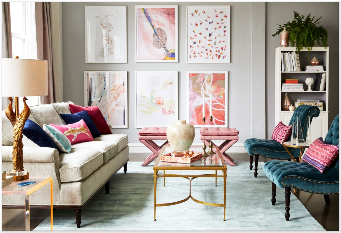 Living Room Design With Gold Accents