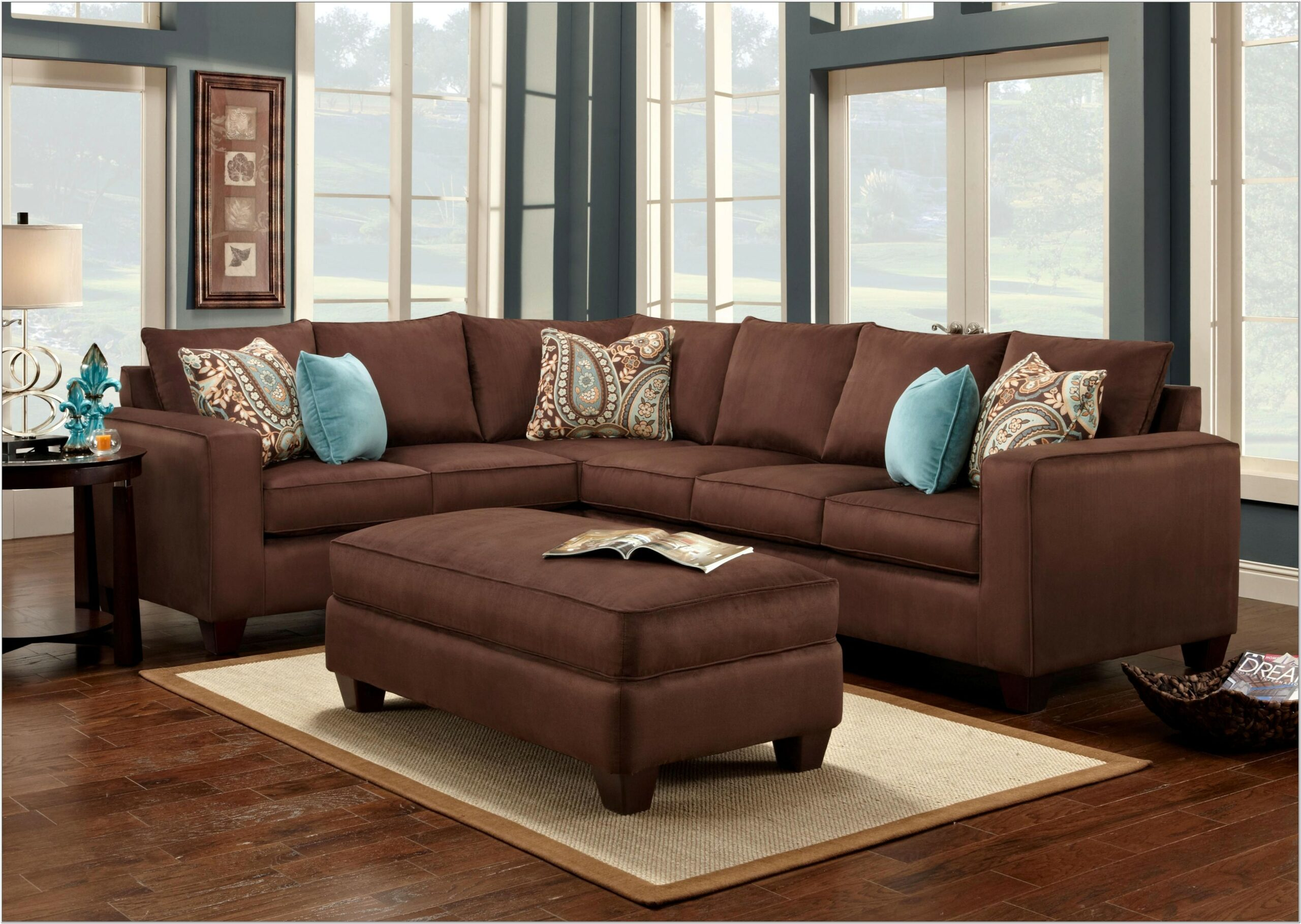 Living Room With Chocolate Brown Sectional Decoration