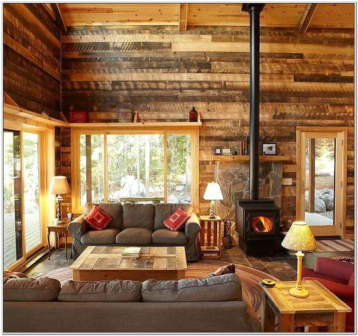 Rustic Shelving Ideas For Cabin Living Room