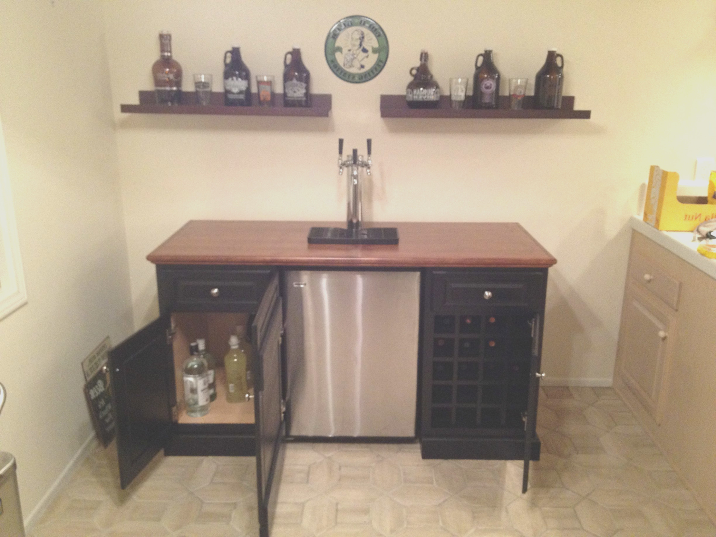 Bar Cabinet With Space for Mini Fridge