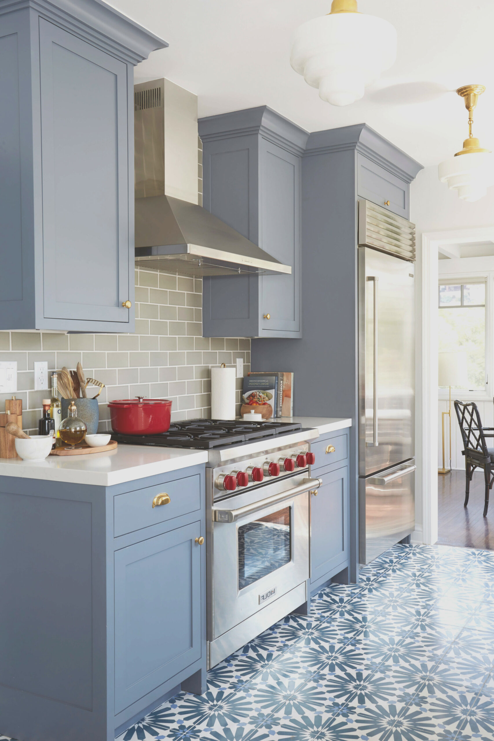 Blue Gray Cabinets in Kitchen