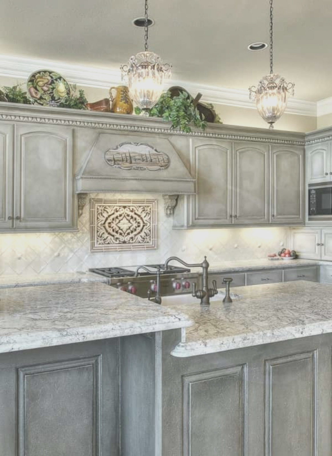 Gray Washed Kitchen Cabinets