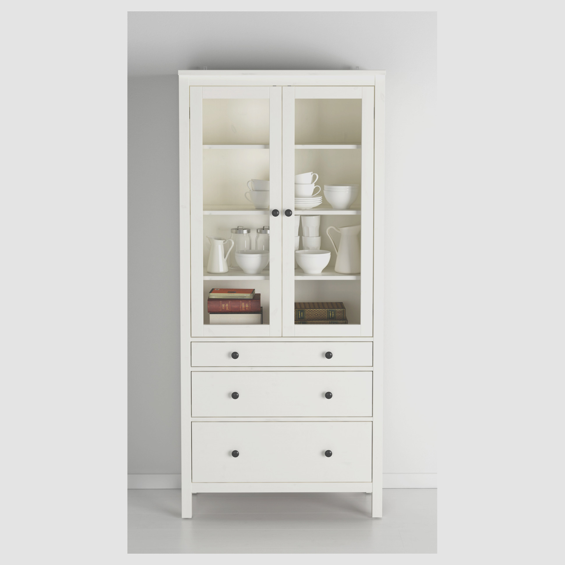 Tall Cabinet With Glass Doors and Drawers