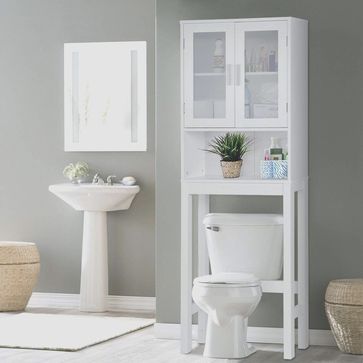 White Above Toilet Cabinet