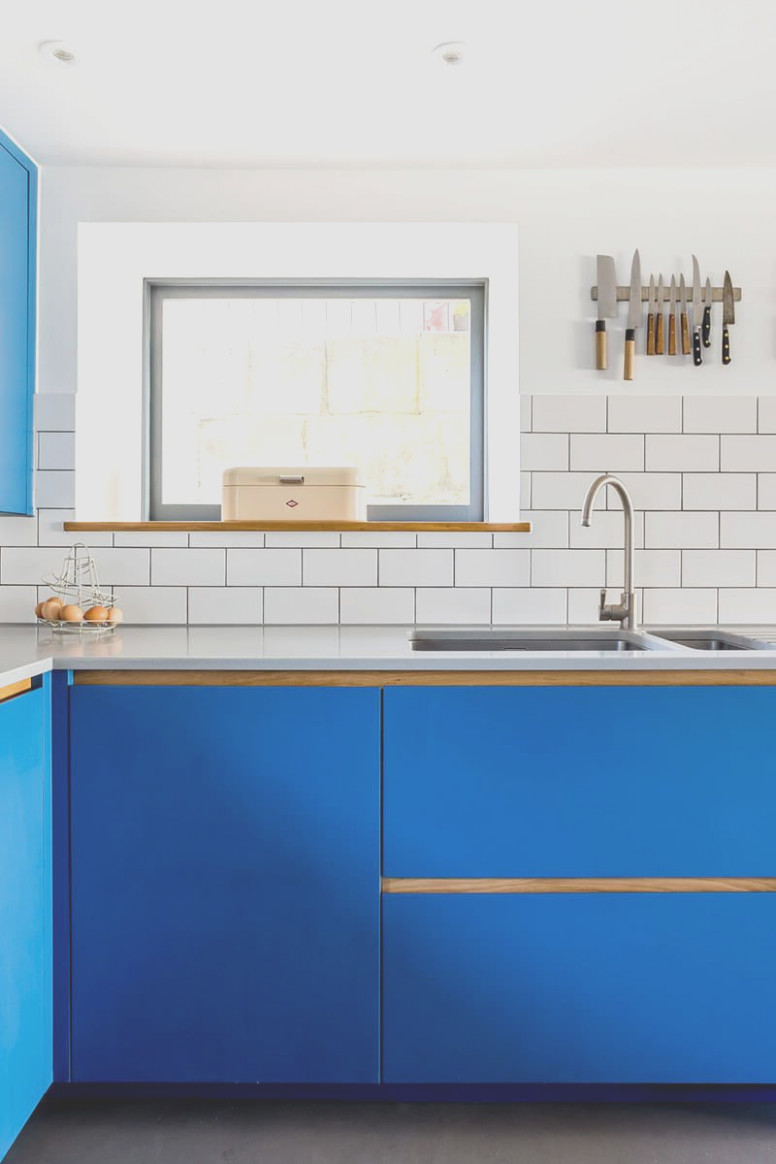 Electric Blue Kitchen Cabinets