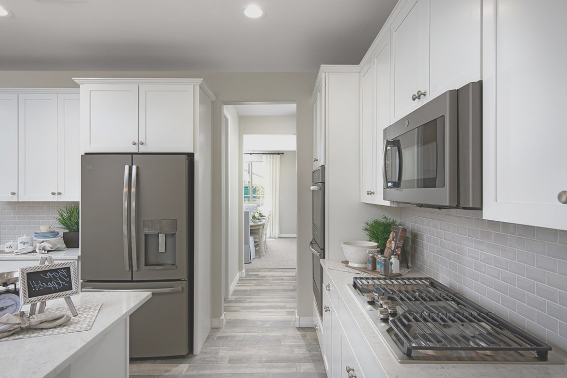 Gray Cabinets With Slate Appliances