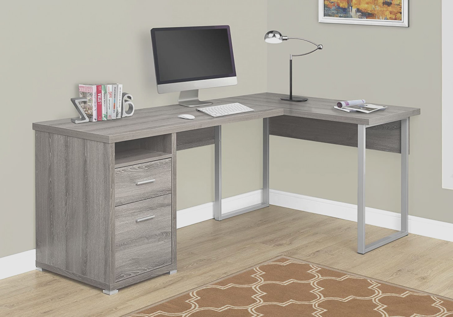 L Shaped Desk With Matching Filing Cabinet
